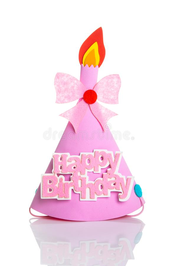 Pink Birthday hat with elements and decorations for party and celebrations isolated in white background.  royalty free stock photography