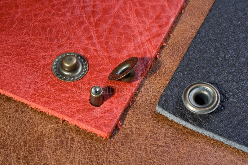 Pink, black, brown leather with buttons royalty free stock images