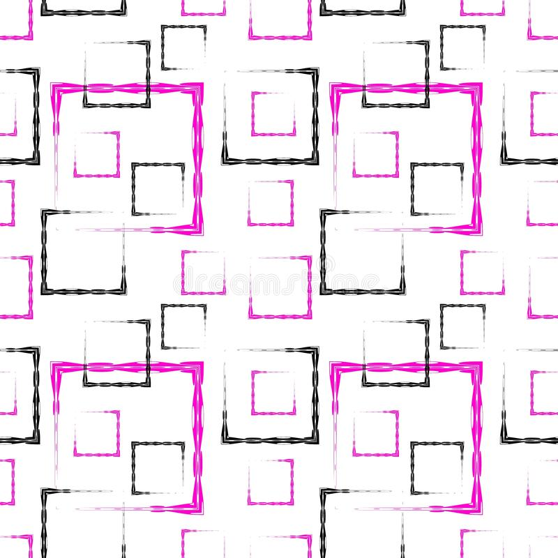 Pink and black carved squares and frames for an abstract white background or pattern vector illustration