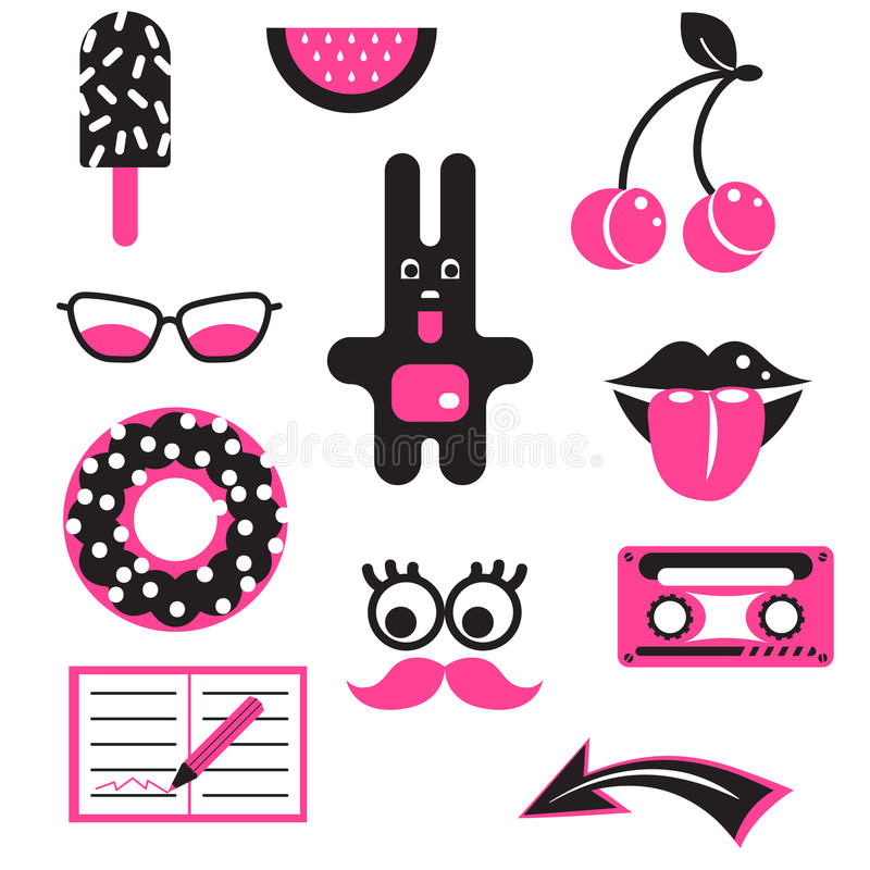 Pink and black fun patches. Vector stickers. stock illustration
