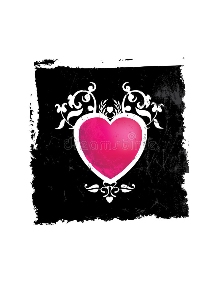Pink And Black Grunge Heart Royalty Free Stock Photos