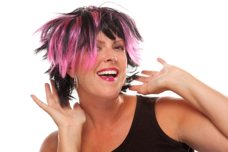 Pink And Black Haired Girl Portrait stock photography