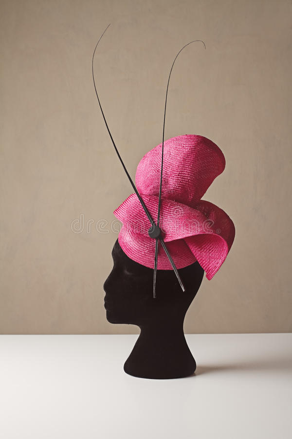Pink and black ladies races hat spring carnival royalty free stock photo
