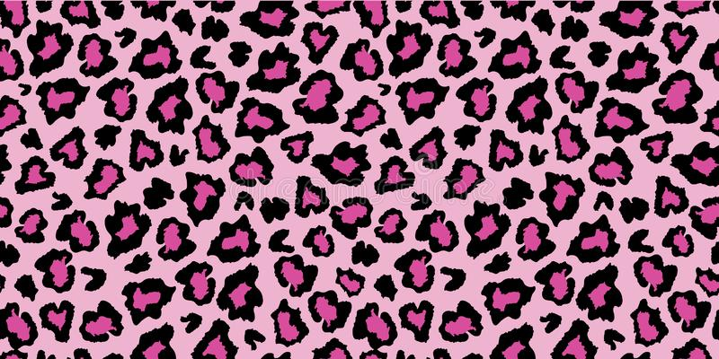 Pink and black leopard skin fur print pattern. Great for classic animal product design, fabric, wallpaper, backgrounds, invitations, packaging design projects stock illustration