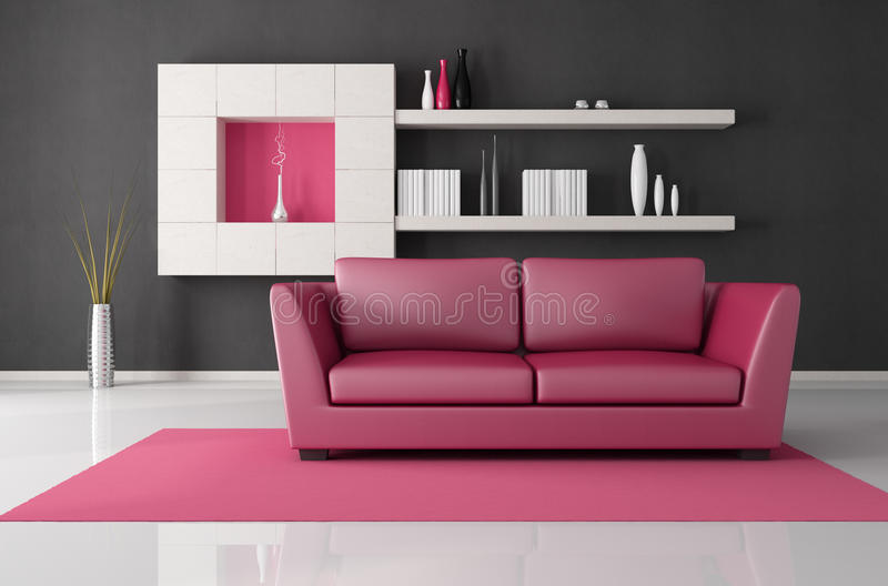 Pink and black living room stock illustration. Illustration of white ...