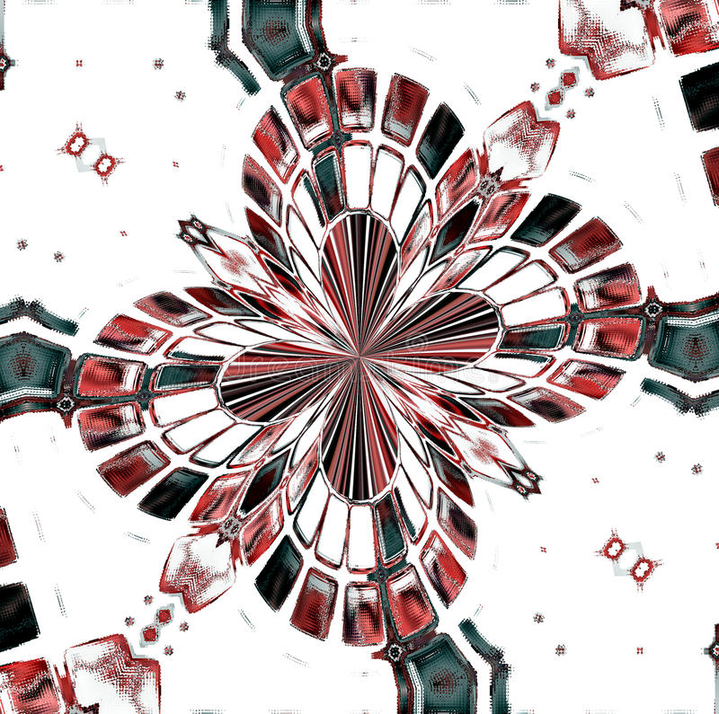 Pink and black mosaic flower, abstract design stock illustration