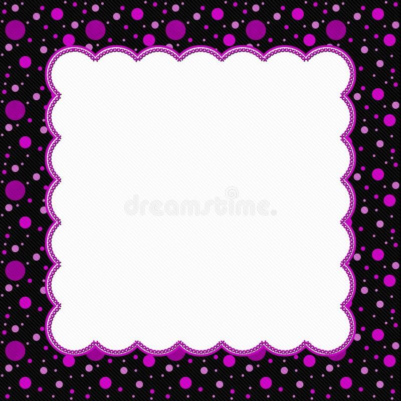 pink and black polka dot frame background stock