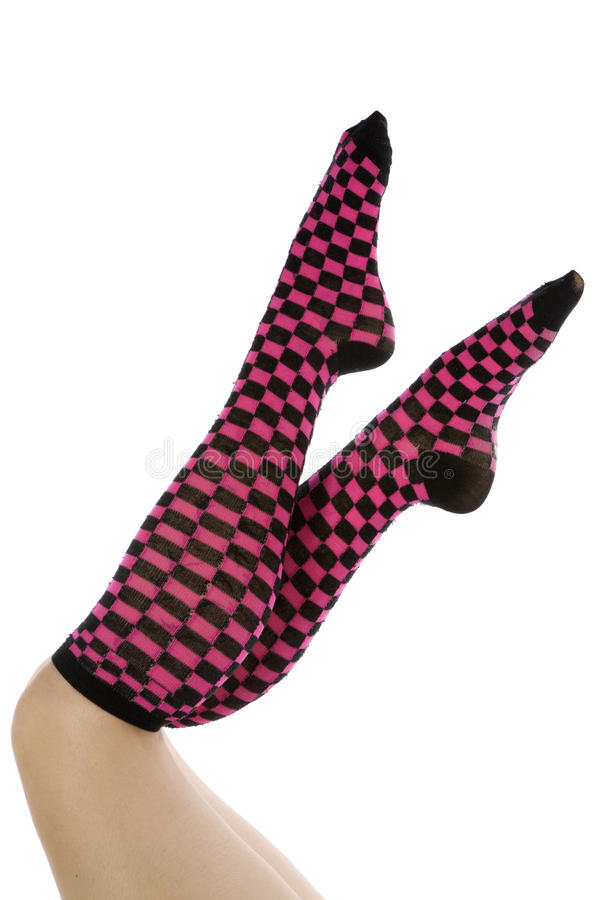 Pink And Black Socks Toes Pointed Stock Photos
