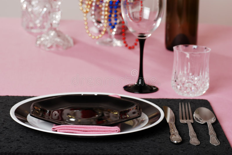 Download Pink And Black Table Setting Stock Photo - Image of serving modern 8439530 & Pink And Black Table Setting Stock Photo - Image of serving modern ...