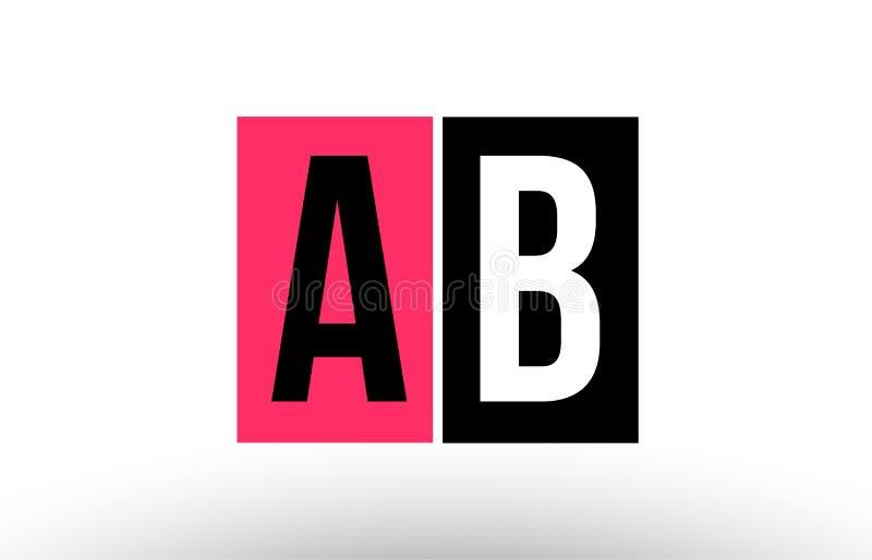 pink black white alphabet letter ab a b logo combination icon design stock illustration