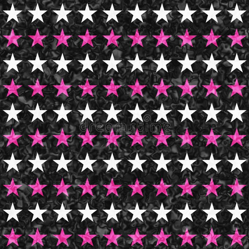 Pink, black and white star seamless textured pattern background. Pink, black and white star abstract seamless and repeat textured pattern background royalty free stock images
