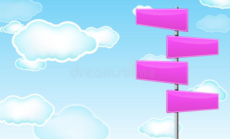 Pink blank road sign. With cloud royalty free illustration
