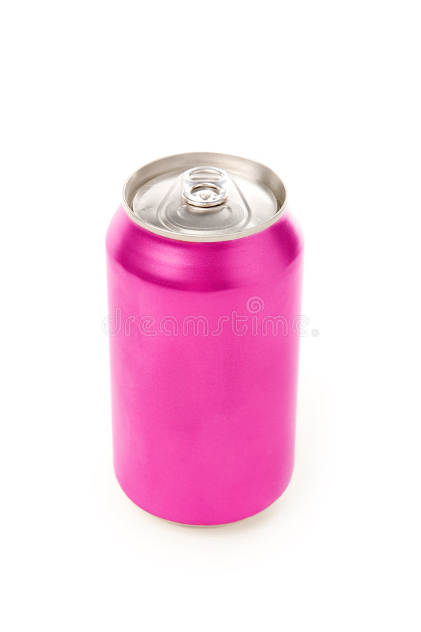 Pink blank soda can. With white background stock images