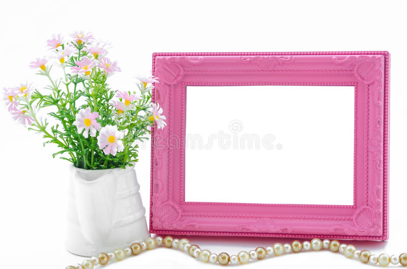 Pink blank vintage picture frame. stock photography