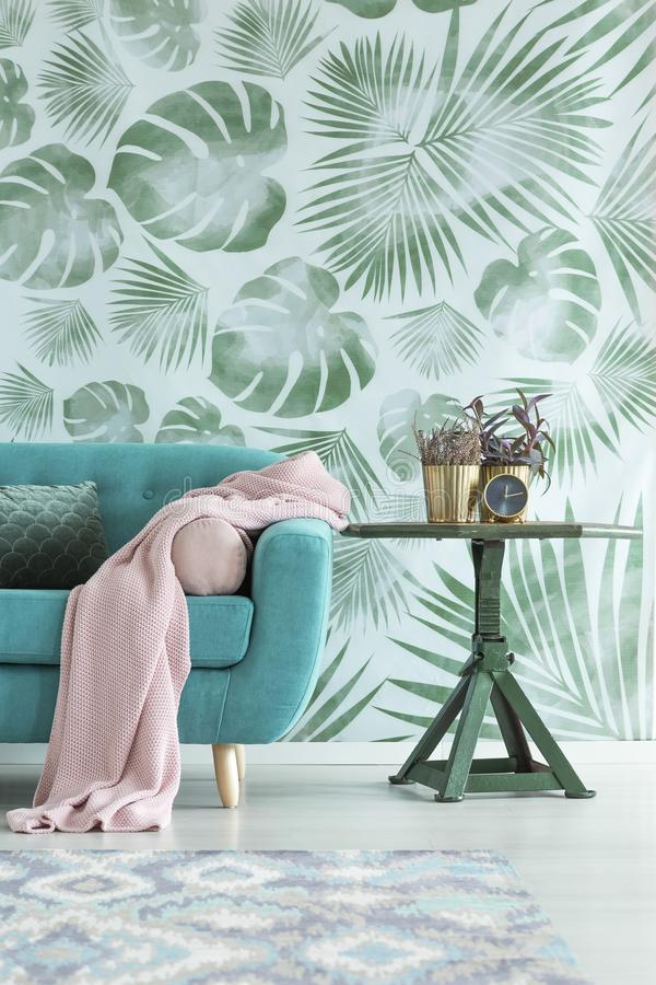 Leaves wallpaper in living room. Pink blanket on blue settee next to a table with plant against leaves wallpaper in living room royalty free stock photo