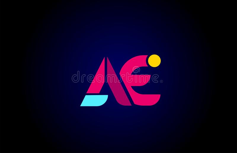 Pink blue alphabet letter AE A E combination for company logo. Suitable as logotype design for a business stock illustration