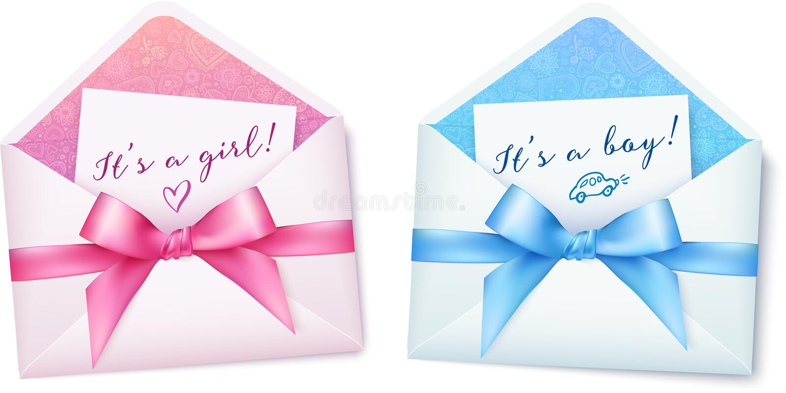Pink and blue baby shower envelops with bows stock illustration