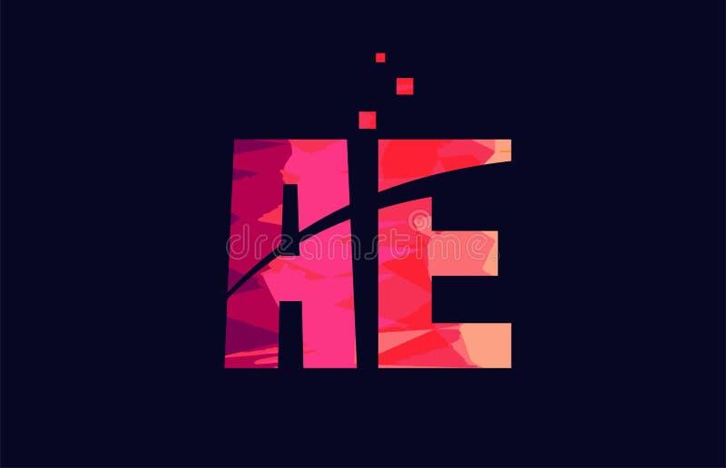 Pink blue background color alphabet letter combination AE A E for logo icon design. Pink blue background color alphabet letter AE A E logo combination design royalty free illustration