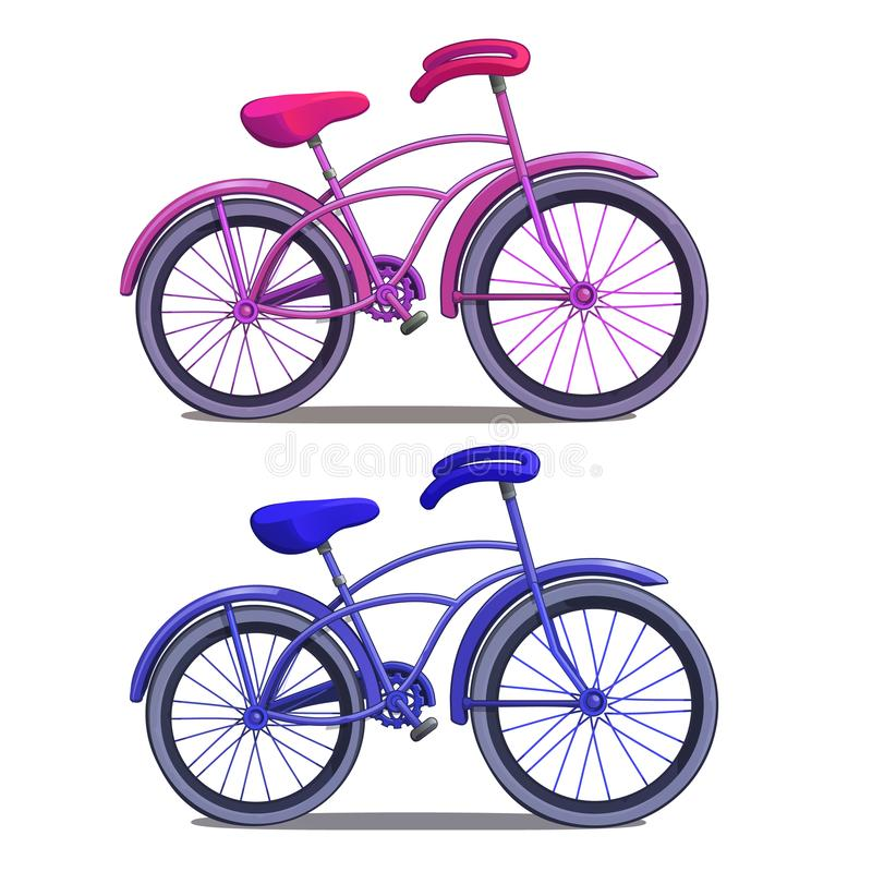 Pink and blue bicycle isolated on white background. Vector in cartoon style stock illustration