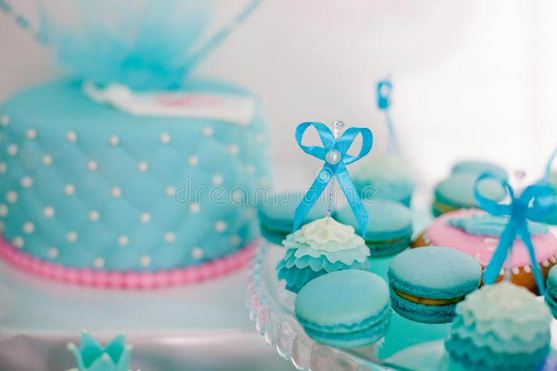Pink and blue bisquits for candy bar.  royalty free stock image