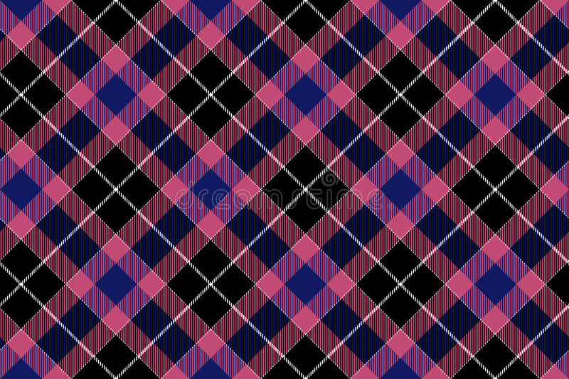 Pink blue black check plaid seamless pattern vector illustration
