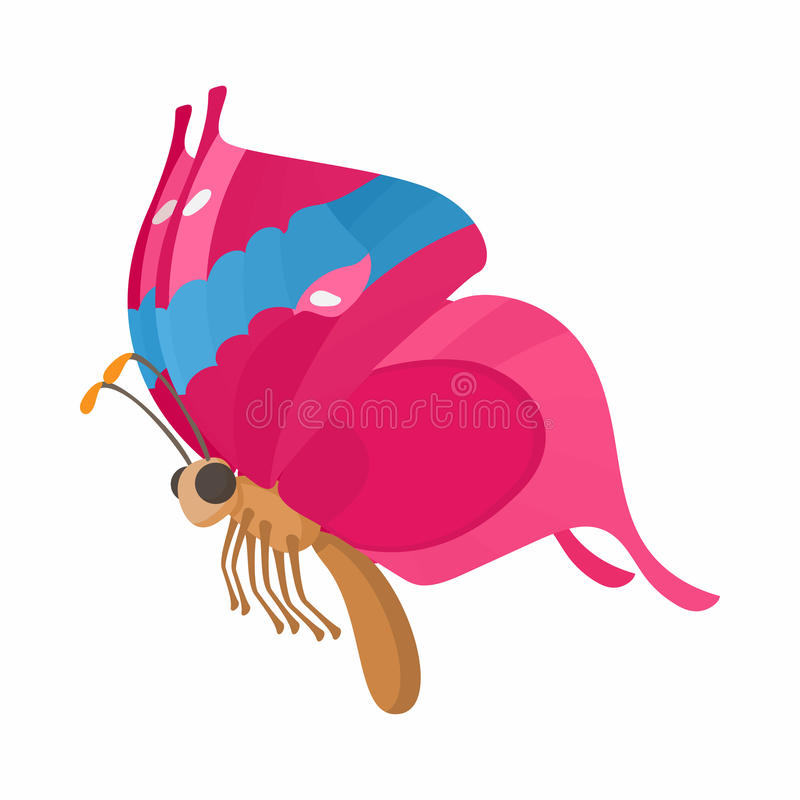 Pink-blue butterfly icon, cartoon style stock illustration