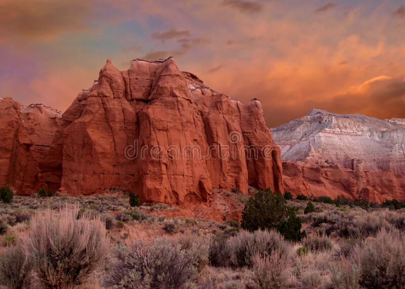 Sunset at Kodachrome State Park in Utah royalty free stock photography