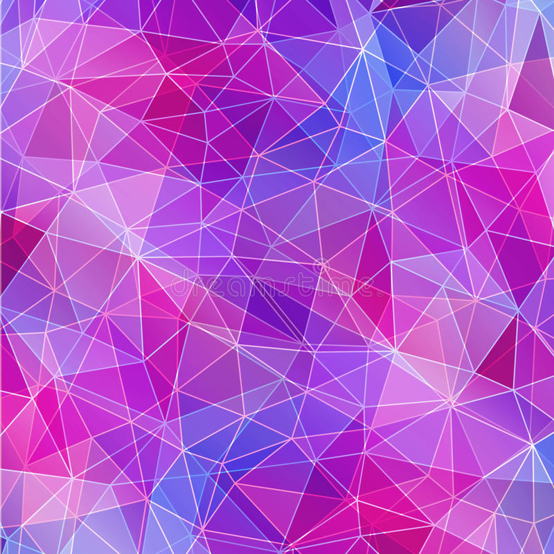 Purple Polygonal Abstract Background: Pink And Blue Crystal Texture, Abstract Background. Stock