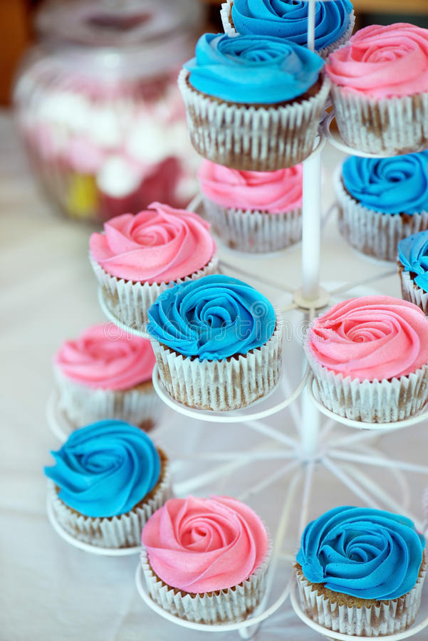 Pink and Blue Cupcakes stock photo