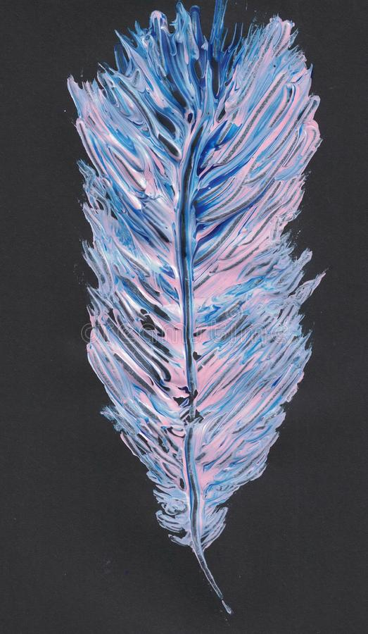 Pink and blue feather painted on a black background vector illustration