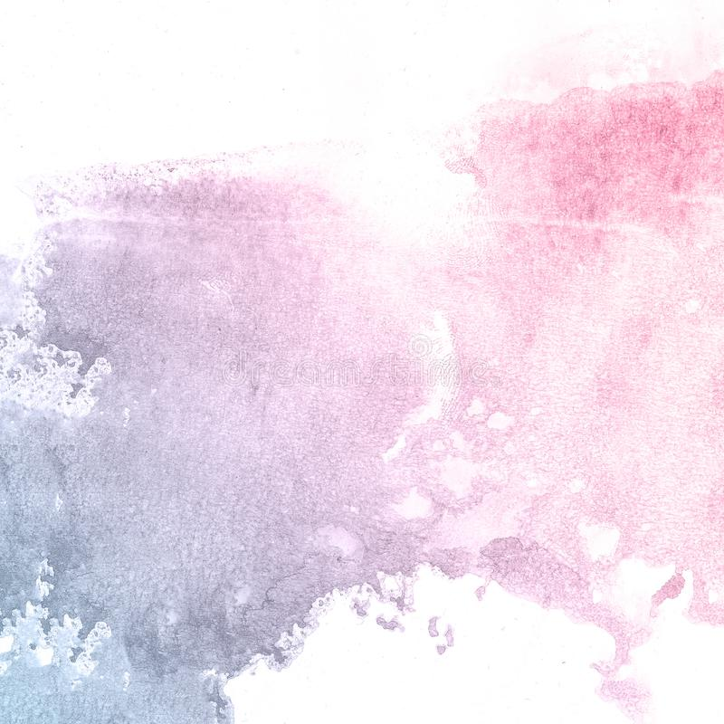 Pink and blue flower creative watercolor paint background, lettering scrapbook sketch. stock images