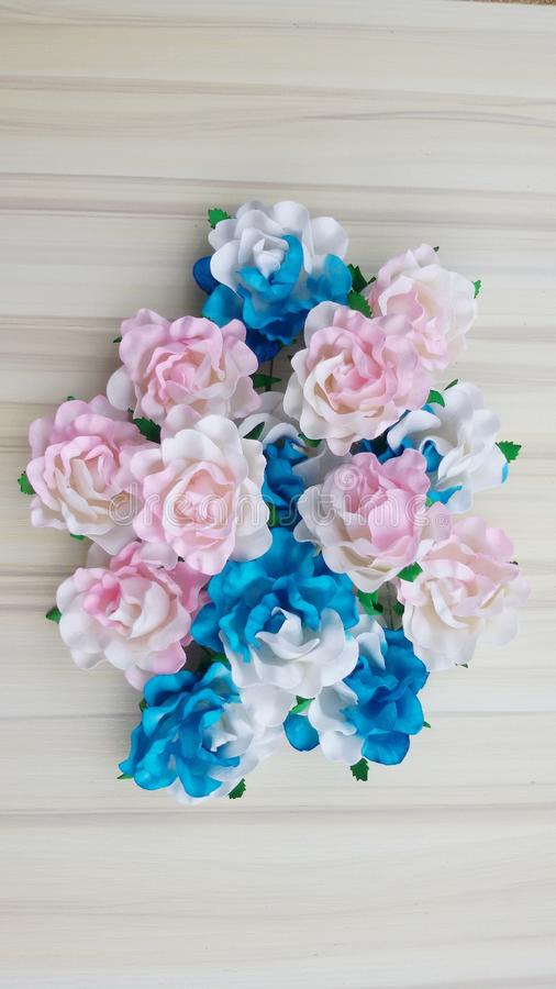 Download Pink Blue Flower Wood Background Wedding Wallpaper Romantic Design Stock Photo