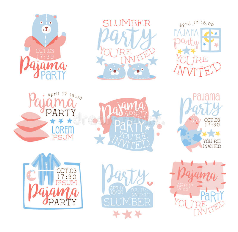Pink And Blue Girly Pajama Party Invitation Templates Set Inviting Kids For The Slumber Pyjama Overnight Sleepover Cards vector illustration
