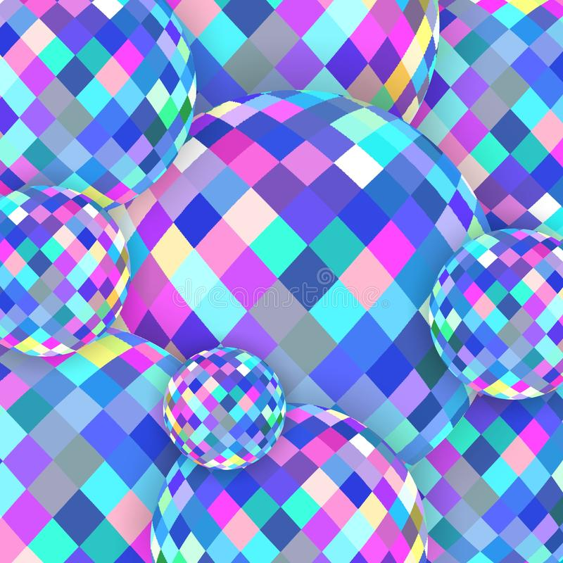 Pink blue gleam crystal balls 3d background. Brilliance glass abstract texture. Creative image for any design. Simple graphics. Great template for advertising royalty free illustration