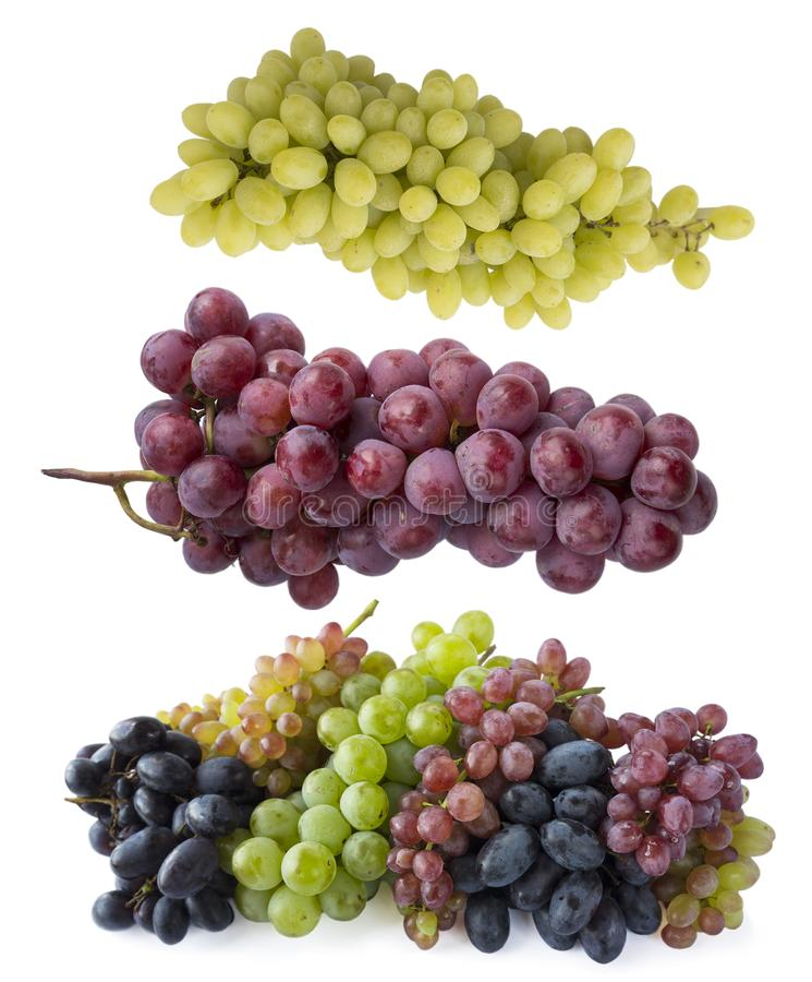 Pink, blue and green grapes isolated on white background. Top view. Bunch of pink, blue and green grapes isolated on white backgro. Und. Fresh grape isolated on royalty free stock photos