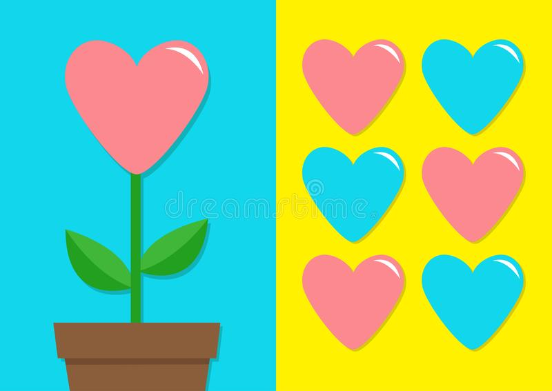 Pink Blue heart icon set. Flower pot. Cute plant collection. Love card. Growing concept. Flat design. Bright yellow background. Ha. Ppy Valentines Day Template stock illustration