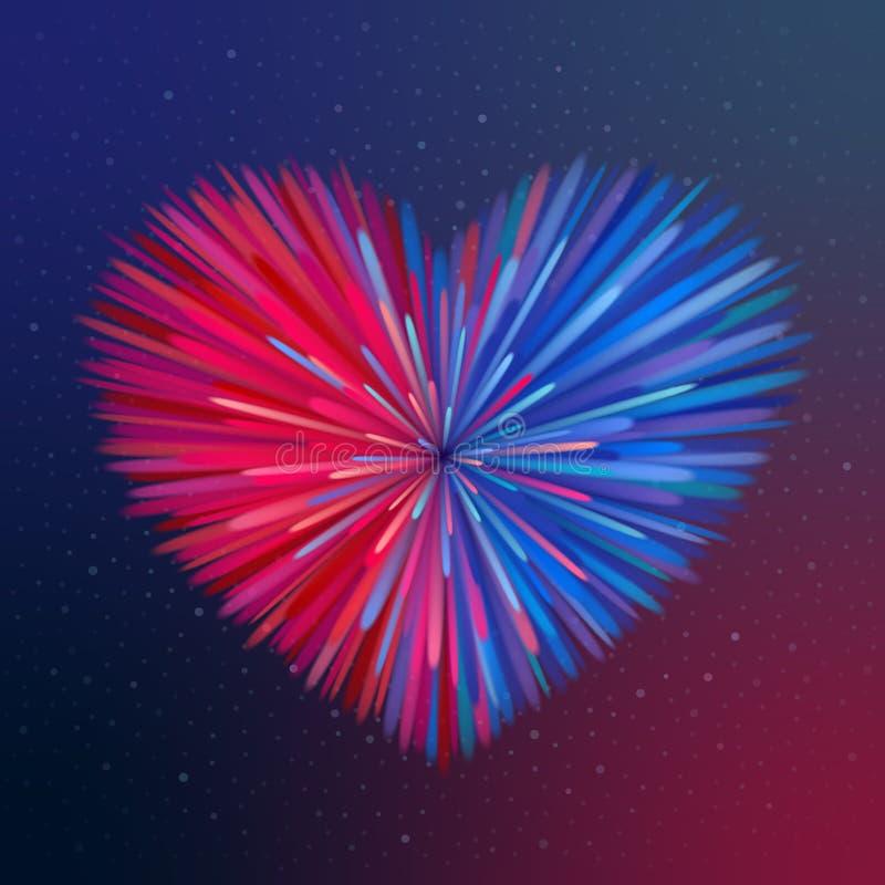 Pink-blue heart-shaped firework. Heart-shaped firework, pink-blue beams at dark background. Heterosexual love concept stock illustration