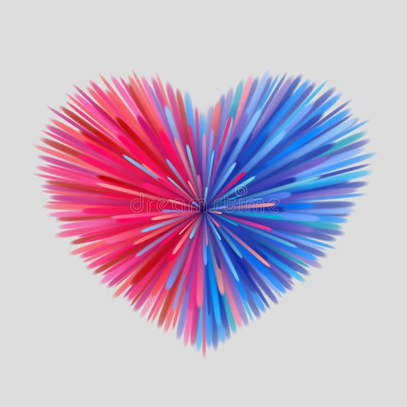 Pink-blue heart-shaped firework. Heart-shaped firework, pink-blue beams at gray background. Heterosexual love concept stock illustration