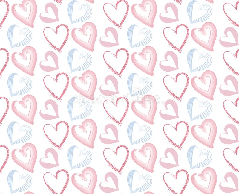 Pink and blue hearts seamless pattern . Usable for different purposes royalty free illustration