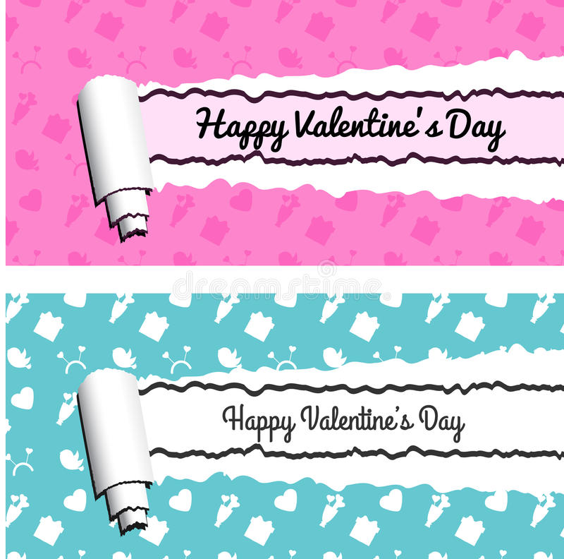 Pink and blue horizontal banners with torn rolled paper stripes. Ripped Valentines day vector frames royalty free illustration