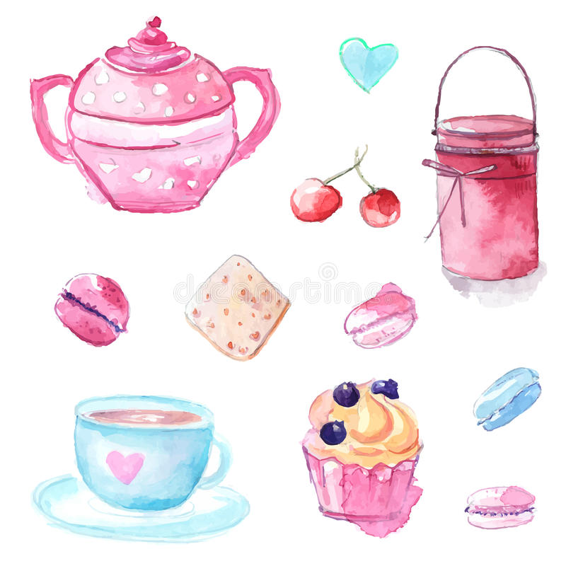 Pink and blue illustrations of tea pot, cup, cupcake pastry and jar with jam. Set of hand drawn watercolor vector elements. royalty free illustration