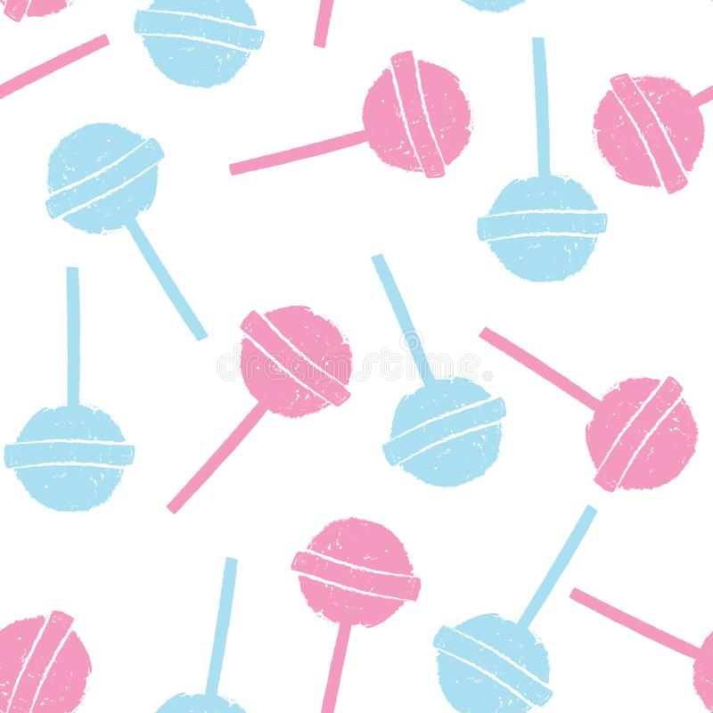 Pink and blue lollipops on white background in flat style design. Seamless background with candy, minimalism concept. vector illustration