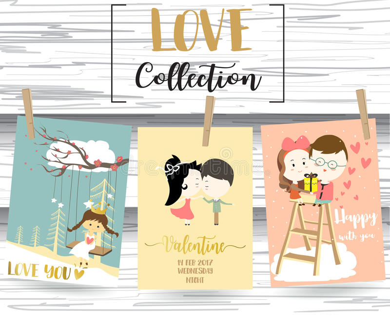 Pink,blue love collection for banners,Flyers,Placards with girl,. Man,woman and heart on valentine`s day stock illustration