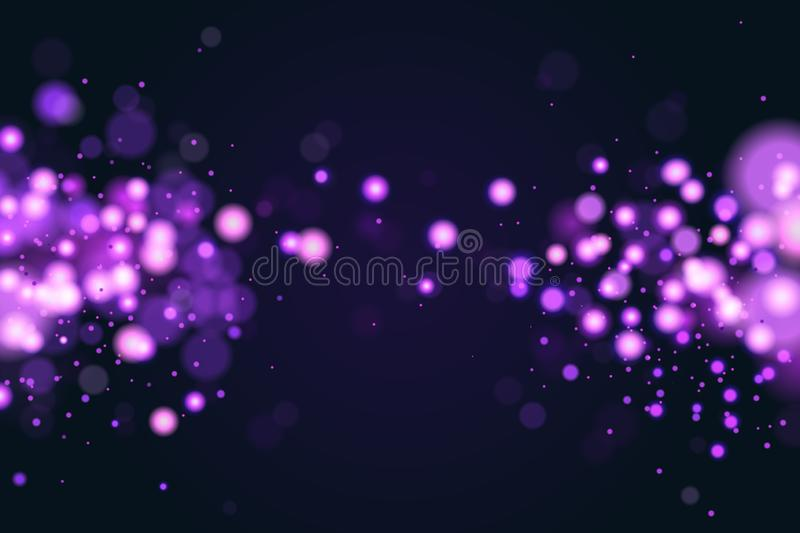 Pink and blue magic bokeh sparkle glitter lights. Abstract defocused circular New Year background design. Elegant, shiny. Purple blue background. EPS 10 stock illustration