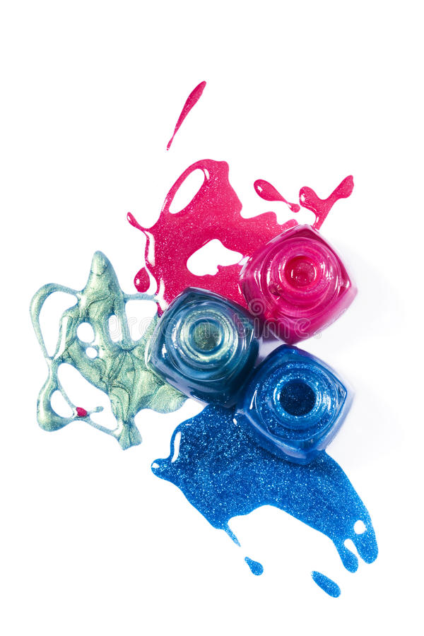Free Pink, Blue, Marine Shimmering Nail Polish Stock Images - 15924374