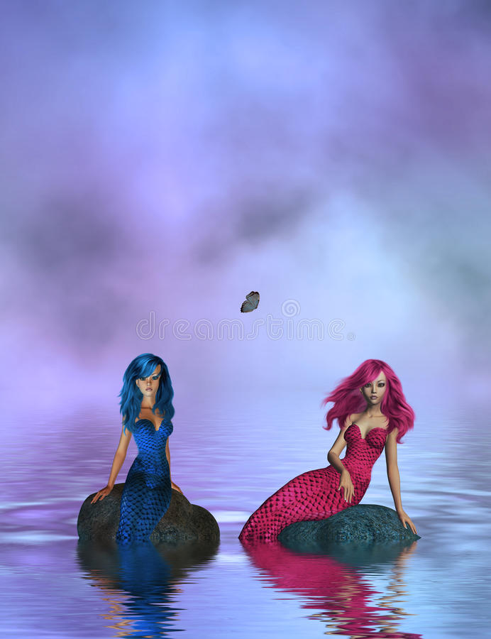 Pink and Blue Mermaids Sitting On Rocks stock photos