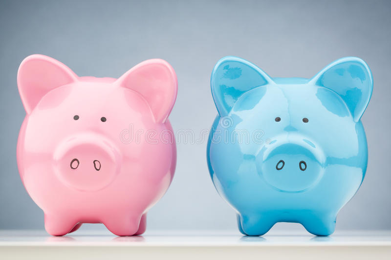 Pink and Blue Piggy Bank Together. A pink and a blue piggy bank standing next to each other. Closeup front view stock photo