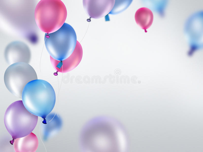 Pink blue and purple balloons royalty free illustration