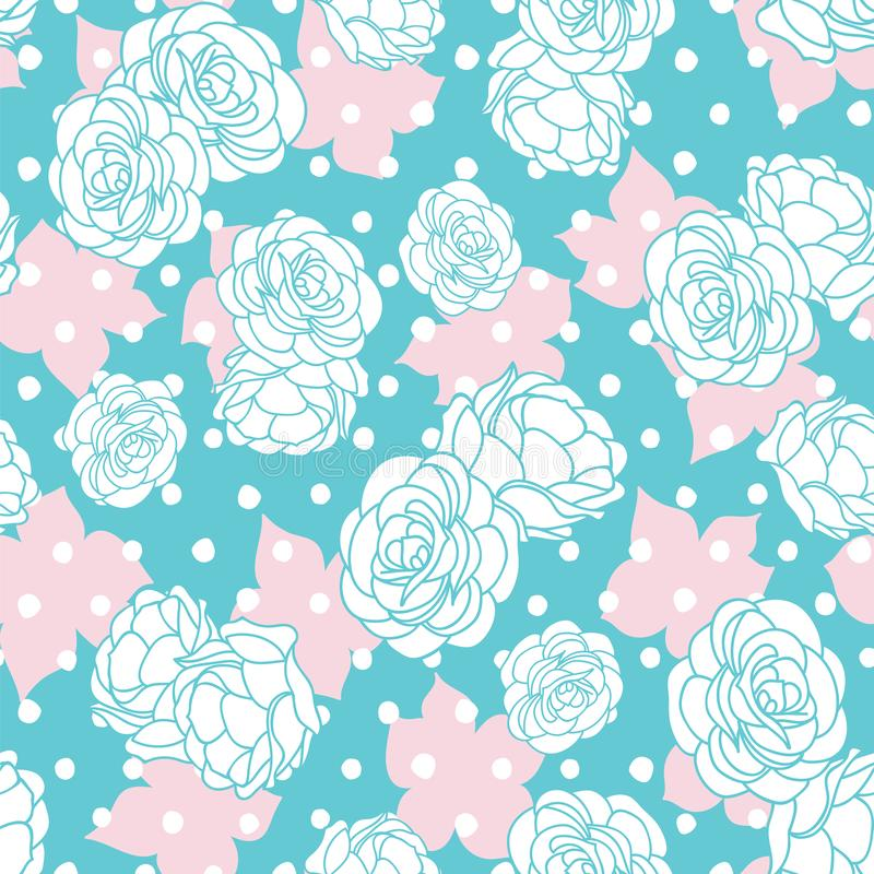 Pink blue rose garden with dots seamless vector repeat pattern vector illustration