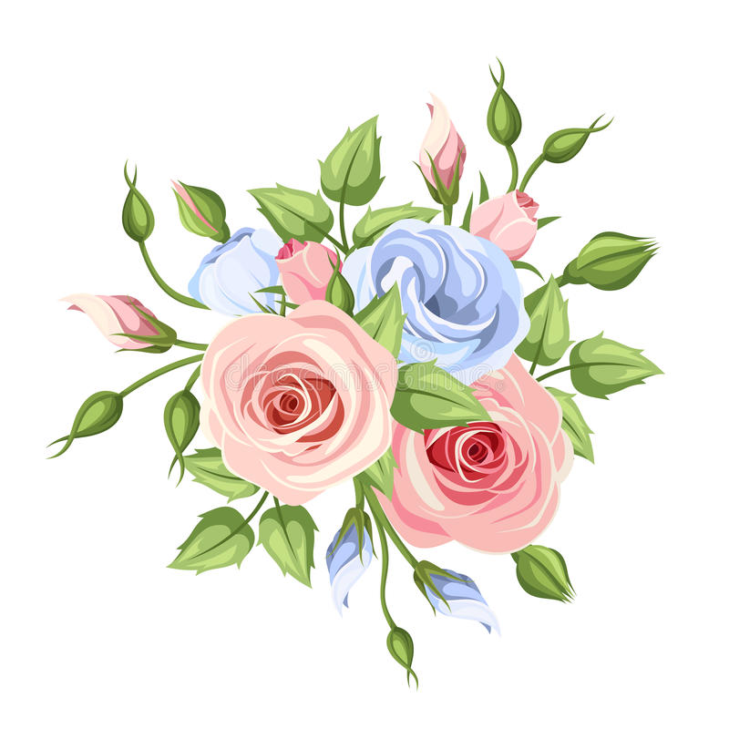 Pink And Blue Roses And Lisianthus Flowers Vector